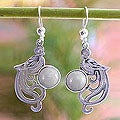 Sterling Silver 'Lavender Quetzal' Lavender Jade Earrings (Guatemala)