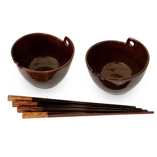 Set of 2 Handcrafted Ceramic 'Mangkok Dinner' Bowls (Indonesia)