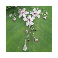 Stainless Steel 'Floral' Rose Quartz and Garnet Necklace (Thailand)