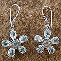 Sterling Silver 'Blue Starlight' Topaz Earrings (India)