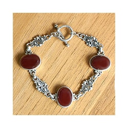 Sterling Silver 'Sunset in Bali' Carnelian Bracelet (Indonesia)