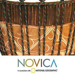 Handcrafted Mahogany Wood 'Island Guardian' Jambe Drum (Indonesia)