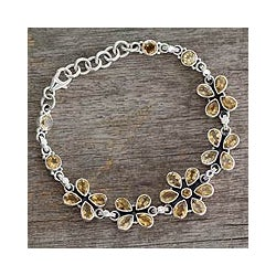 Sterling Silver 'Butterfly Blossom' Citrine Link Bracelet (India)