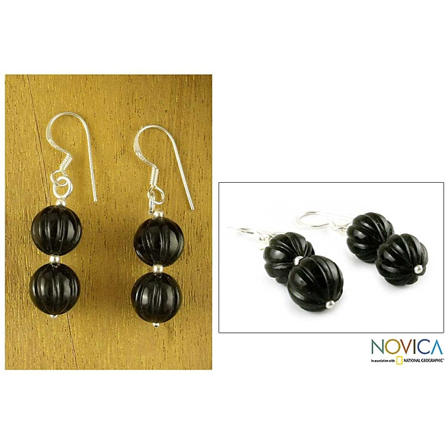 Sterling Silver 'Midnight Promise' Onyx Dangle Earrings (India)