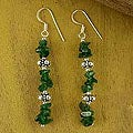 Sterling Silver 'Ivy Garland' Aventurine Drop Earrings (India)