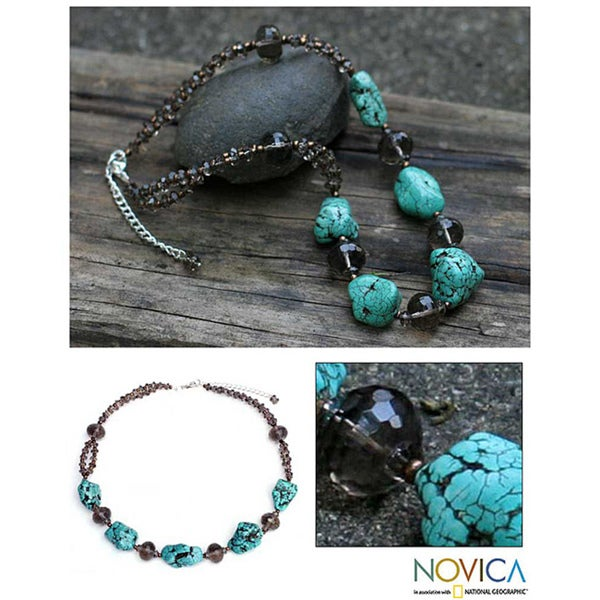 Handmade Magnesite 'Song of the Sky' Beaded Necklace (Thailand) 8309286