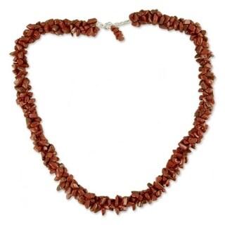 Sterling Silver 'Desert Rose' Jasper Beaded Necklace (India)