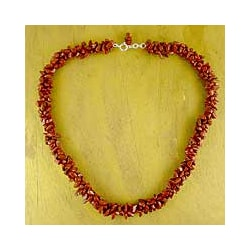 Sterling Silver 'Desert Rose' Jasper Beaded Necklace (India)