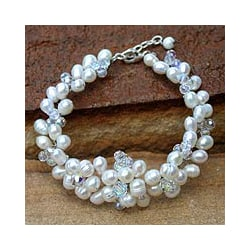 Pearl 'Glamour' Cluster Bracelet (6 mm) (Thailand)