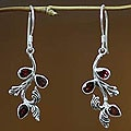 Handcrafted Sterling Silver 'Bali Belle' Garnet Earrings (Indonesia)