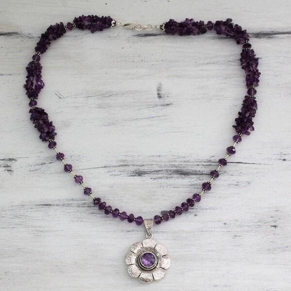 Sterling Silver 'Precious Petals' Amethyst Floral Necklace (India)