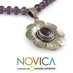 Sterling Silver 'Precious Petals' Amethyst Floral Necklace (India)