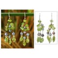 Pearl 'Kiwi Ice' Peridot Dangle Earrings (4 mm) (Thailand)
