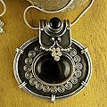 Sterling Silver 'Traditional Chic' Onyx Flower Necklace (India)