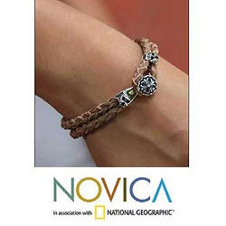 Handcrafted Sterling Silver 'Brown Lotus' Leather Bracelet (Indonesia)