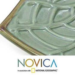 Set of 2 Handcrafted Ceramic 'Betel Leaf' Plates (Indonesia)