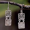 Handcrafted Sterling Silver 'Energy' Drop Earrings (Peru)