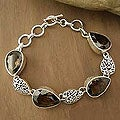 Sterling Silver 'Tears of Joy' Smoky Quartz Bracelet (India)