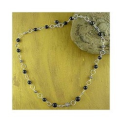 Sterling Silver 'Midnight in Jaipur' Onyx Long Necklace (India)