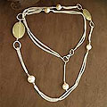 Sterling Silver 'Elegance' Pearl and Agate Necklace (6.5-7 mm) (India)
