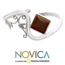 Sterling Silver 'Arabesque' Carnelian Cuff Bracelet (India)