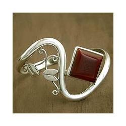 Sterling Silver 'Arabesque' Carnelian Cuff Bracelet (India)
