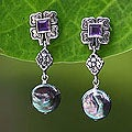 Sterling Silver 'Ubud' Pearl and Amethyst Earrings (9 mm) (Indonesia)