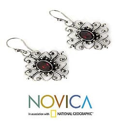 Sterling Silver 'Radiant Blossom' Garnet Earrings (Indonesia)
