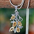 Sterling Silver 'Sundrop Bouquet' Citrine Flower Necklace (India)