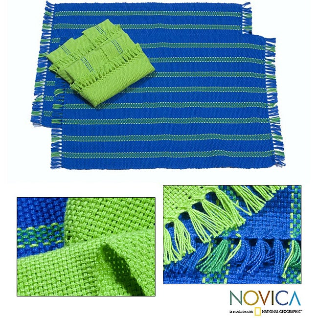 Set of 2 Cotton 'Salvador Sky' Placemats and Napkins (El Salvador)