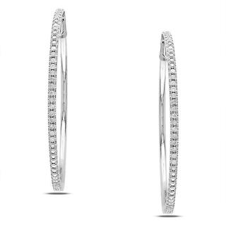 Miadora 14k White Gold 1/2ct TDW Diamond Hoop Earrings (G-H, SI1-SI2)
