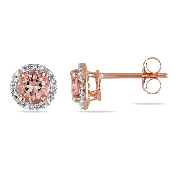 Miadora 10k Rose Gold 1/10ct TDW Diamond and Morganite Halo Stud Earrings (G-H, I2-I3)