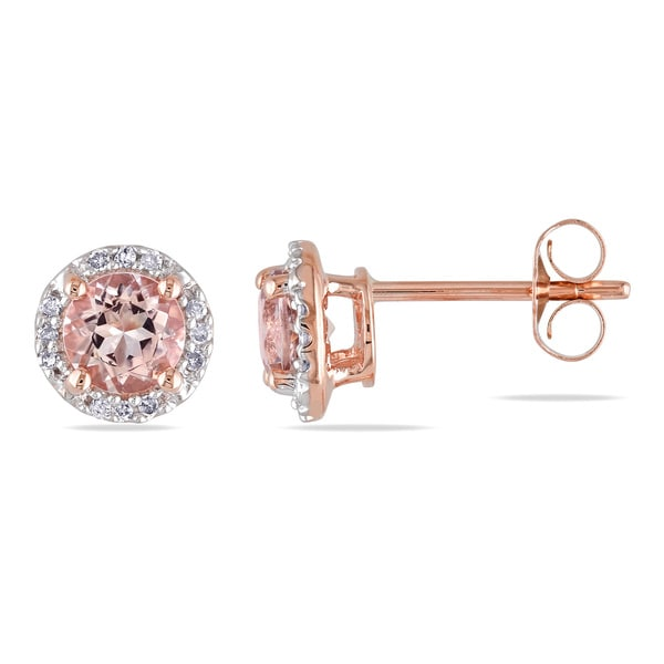 0.07 CT Diamond TW And 1 CT TGW Morganite Ear Pin Earrings 10k Pink Gold GH I2;I3