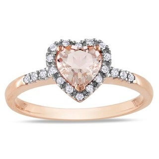 Miadora 10k Pink Gold Morganite and 1/10ct TDW Diamond Heart Ring (G-H, I2) with Bonus Earrings