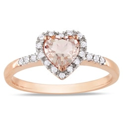 Miadora 10k Pink Gold Morganite and 1/10ct TDW Diamond Heart Ring (G-H, I2)