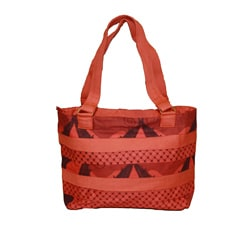 Cotton Orange Kanga Pleated Tote (Kenya)