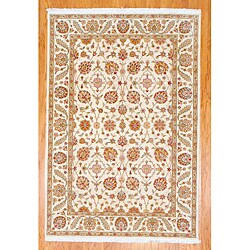 Hand-knotted Oushak Ivory Wool Rug (5'7 x 8'3)