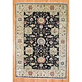 Hand-knotted Oushak Navy and Beige Wool Rug (6' x 8'9)
