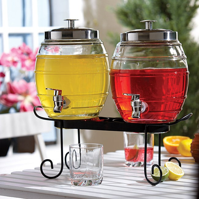 Style Setter Pub Double Beverage Dispenser Set with Rack