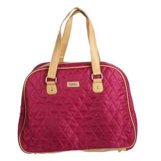 Ellen Tracy Raspberry Quilted Weekender Carry-On Tote