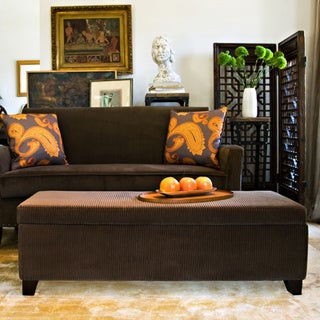 angelo:HOME Kent Vintage Brown Wall Hugger Storage Ottoman