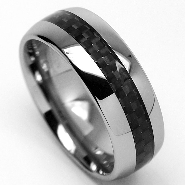 Men's Tungsten Carbide Carbon Fiber Inlay Ring (8 mm)