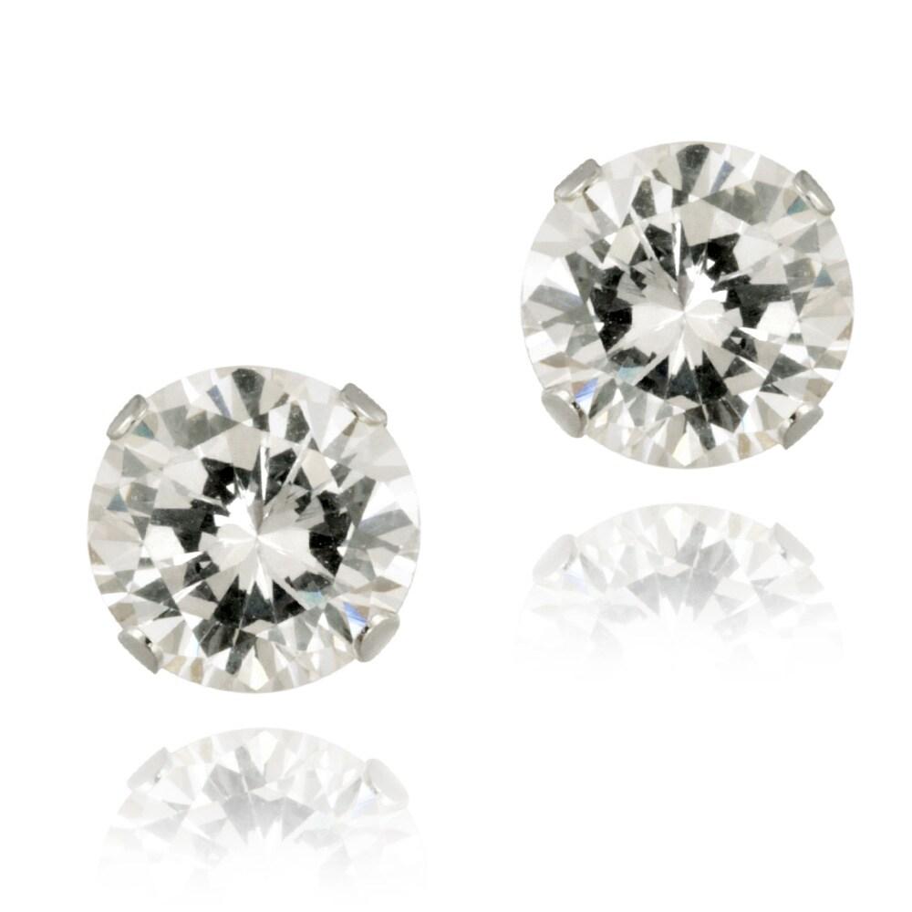 Icz Stonez 14k White Gold 4 1/3ct TGW 7-mm Cubic Zirconia Stud Earrings