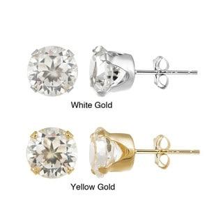 Glitzy Rocks 14k Yellow Gold 4 1/3 TGW 7mm Cubic Zirconia Stud Earrings