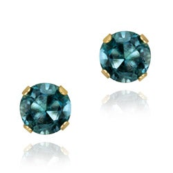Glitzy Rocks 14k Yellow Gold 1 1/6ct TGW 5mm London Blue Topaz Stud Earrings
