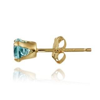 Glitzy Rocks 14k Yellow Gold 5/8ct TGW 4-mm Swiss Blue Topaz Stud Earrings