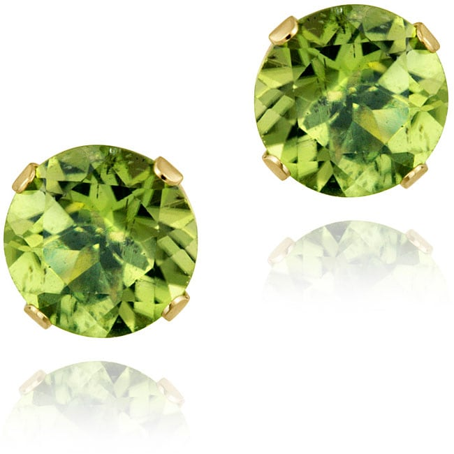 Glitzy Rocks 14k Yellow Gold 2 1/2ct TGW 7-mm Peridot Stud Earrings