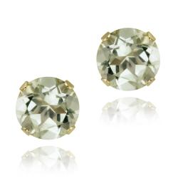 Glitzy Rocks 14k Yellow Gold 2 2/5ct TGW 7-mm Green Amethyst Stud Earrings