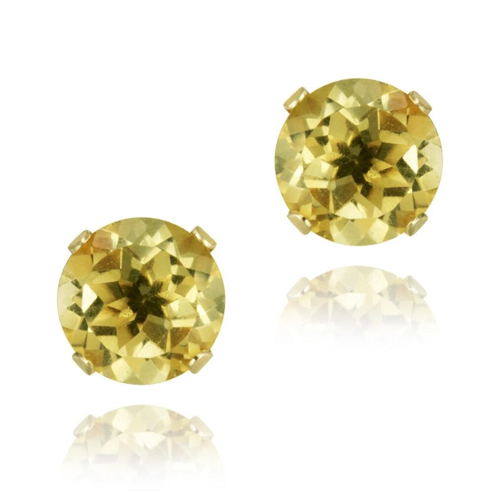 Glitzy Rocks 14k Yellow Gold 2 2/5ct TGW 7-mm Citrine Stud Earrings