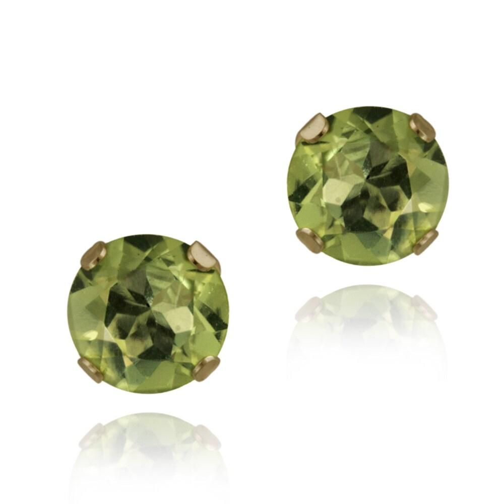 Glitzy Rocks 14k Yellow Gold 1 4/5ct TGW 6mm Peridot Stud Earrings